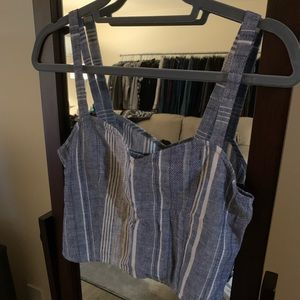 EXPRESS crop top with cute blue and white stripes